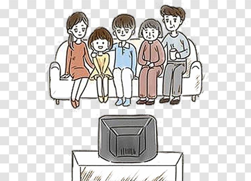 Cartoon Television Drawing Illustration - Organization - Family Watching TV Illustrations Transparent PNG