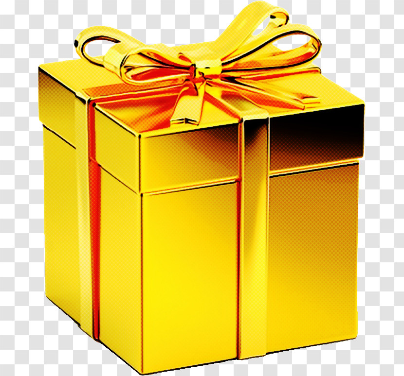 Present Yellow Box Shipping Box Gift Wrapping Transparent PNG