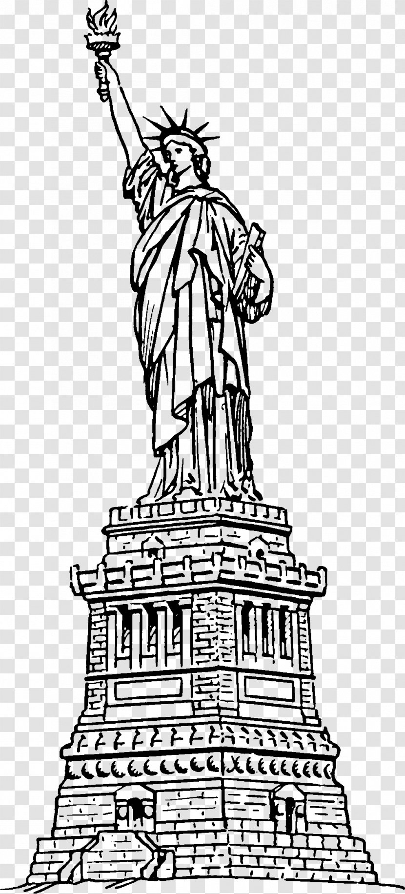 Statue Of Liberty Coloring Book - Monochrome Transparent PNG