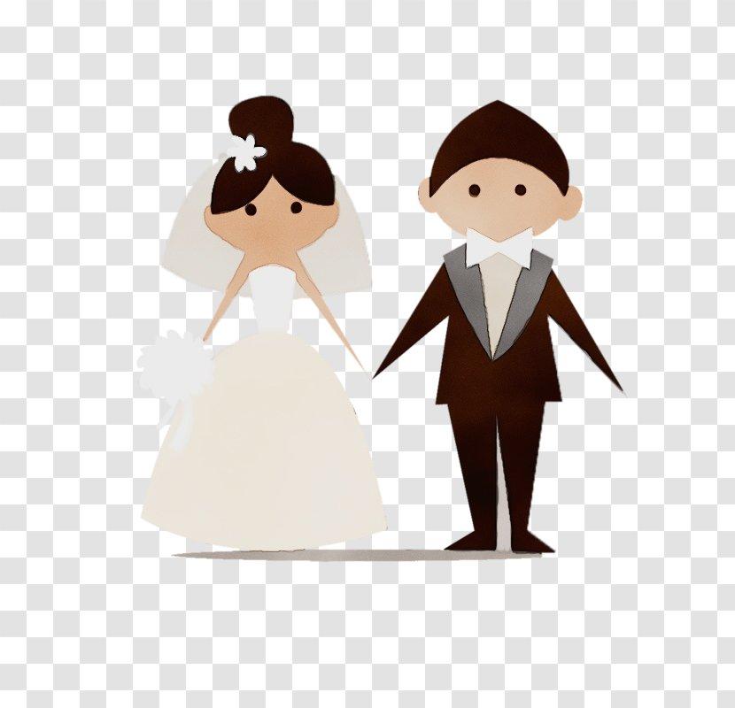 Bride And Groom Cartoon - Invitation - Holding Hands Art Transparent PNG