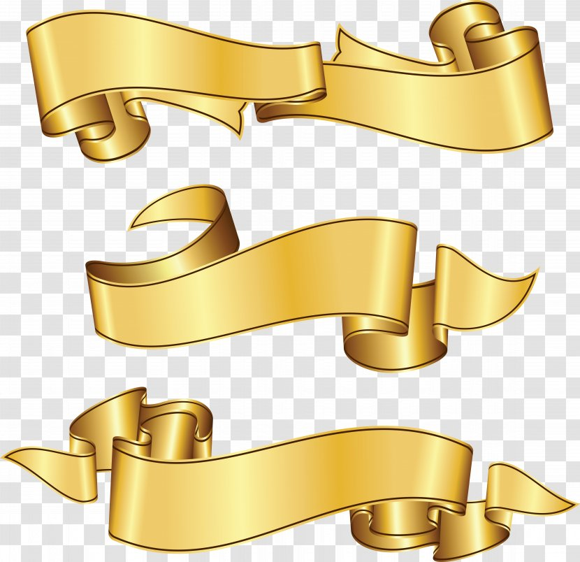 Clip Art - Royaltyfree - Golden Ribbon Transparent PNG