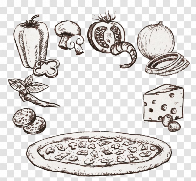 Sri Lanka Pizza Italian Cuisine Street Food - Black And White - Ingredients Transparent PNG