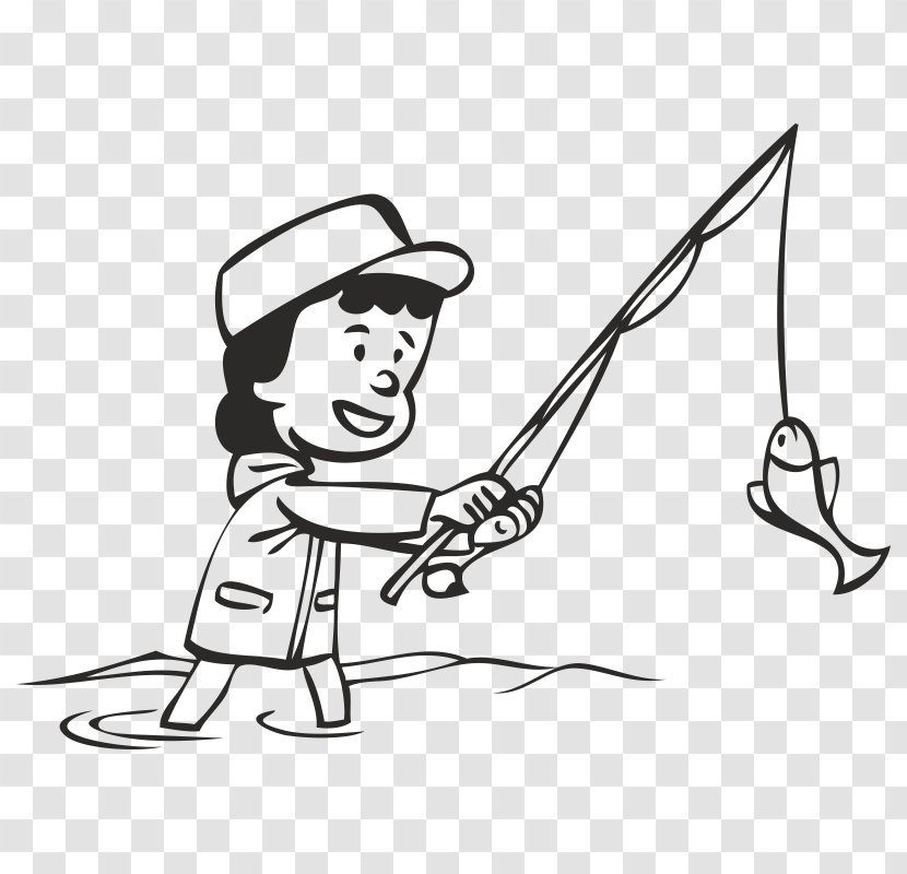 Clip Art Line Fishing Rods Coloring Book Drawing Angling Transparent Png