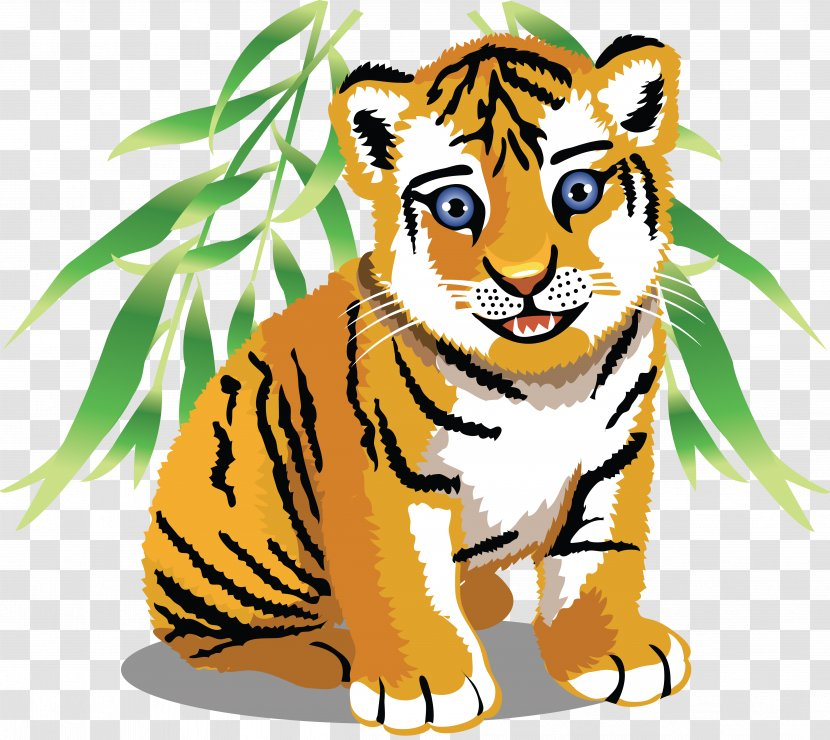 Tiger Baby Jungle Animals Cartoon Clip Art - Organism Transparent PNG