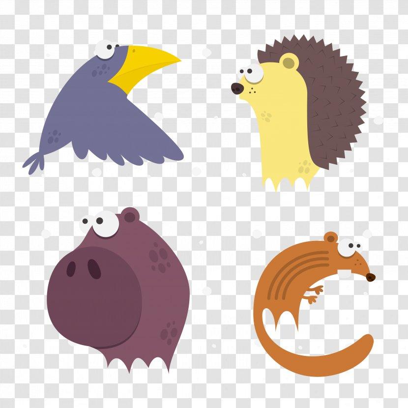 Clip Art - Fox - Vector Cartoon Rhino Crow Hedgehog Transparent PNG