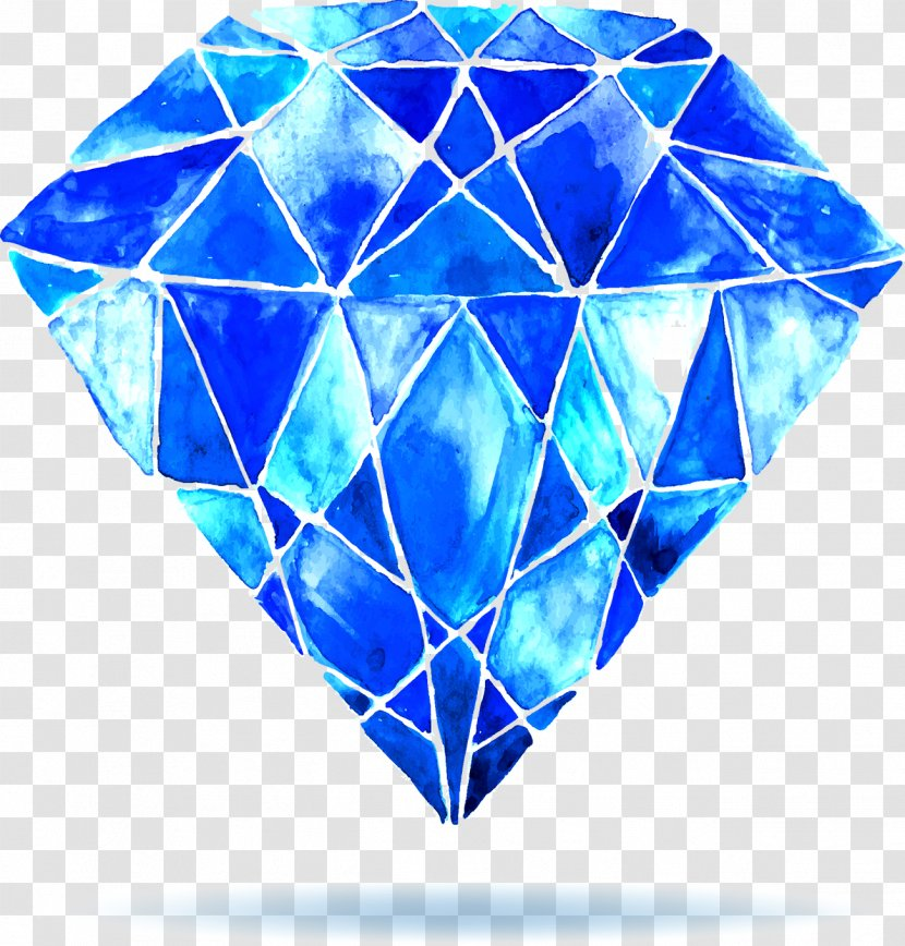 Watercolor Painting Diamond Stock Photography - Blue Crystal Transparent PNG