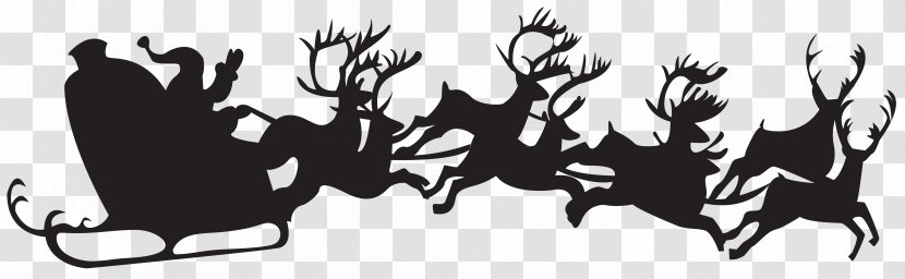 Santa Claus S Reindeer Christmas Silhouette Clip Art Elf Claus With Sleigh Png Transparent Png