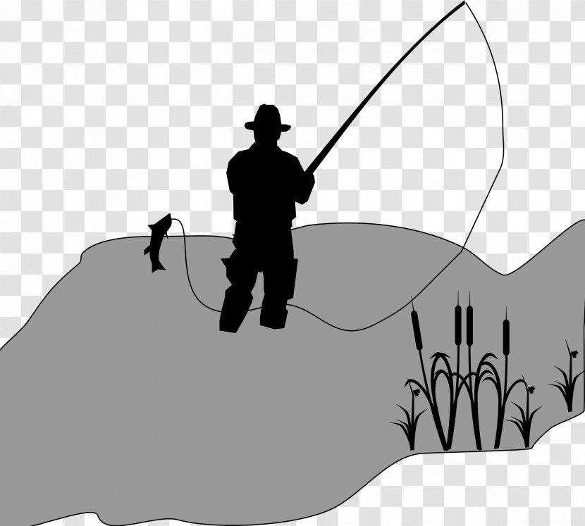 Fisherman Fishing Reels Clip Art Black And White Transparent Png