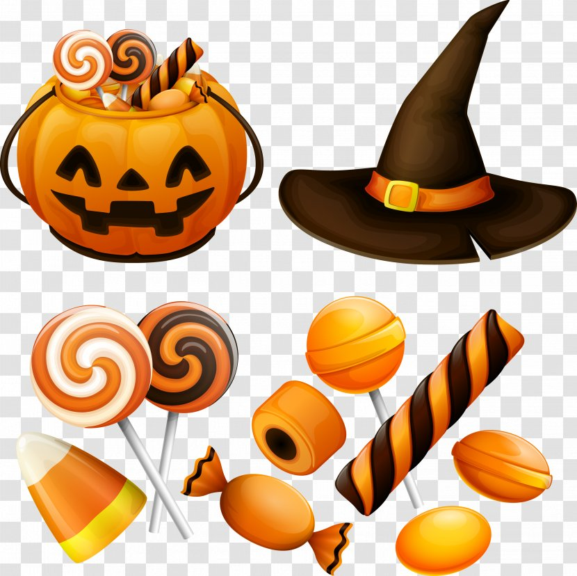 Halloween Candy Pumpkin Jack-o'-lantern - Food - Several Vector Gifts And Decorations Transparent PNG