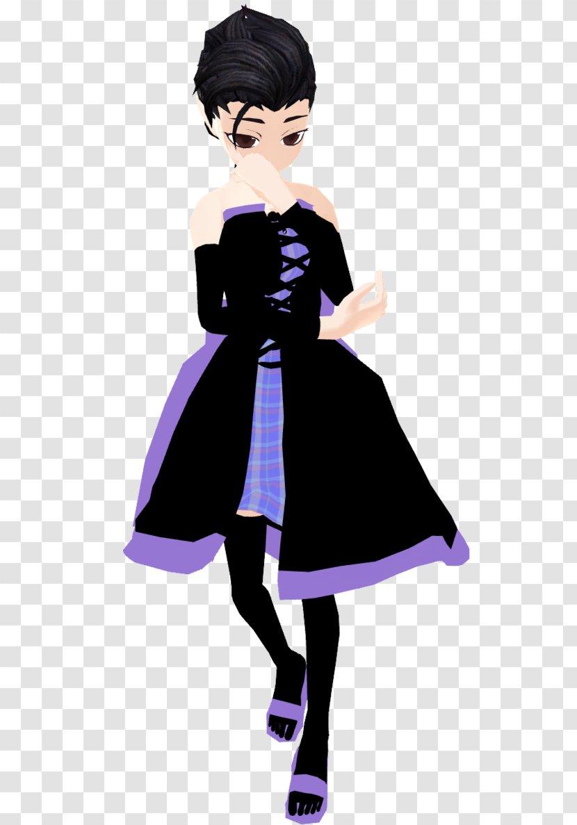 Black Hair Cartoon Gown Purple - Tree Transparent PNG