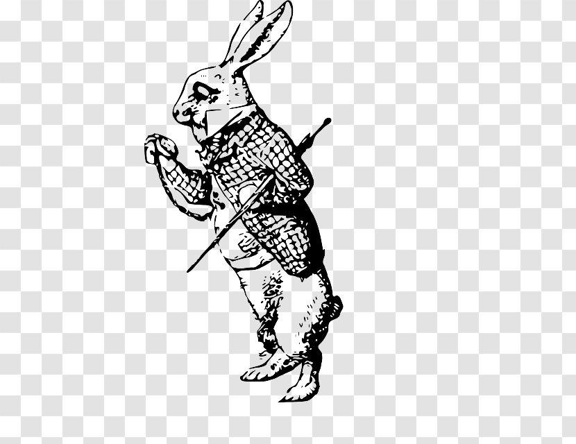 White Rabbit Alice S Adventures In Wonderland Drawing Line Art Clip Flower European Vine Man Transparent Png