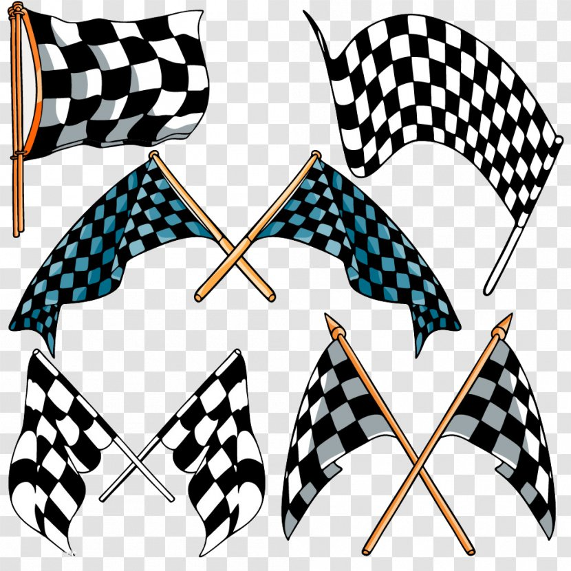 Formula One Racing Flags Auto - Multiple Race Car Plaid Flag Transparent PNG