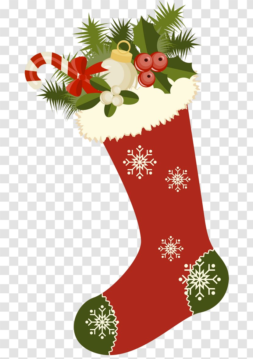 Christmas Stocking Gift Clip Art - Ornament - Red Retro Picture Clipart Transparent PNG
