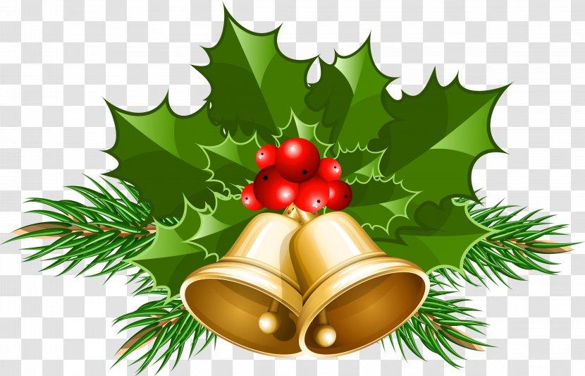 Christmas Jingle Bells Clip Art - Aquifoliaceae - HOLLY Transparent PNG