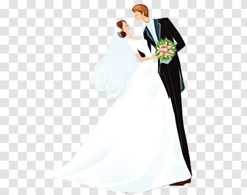 Bride And Groom Cartoon - Wedding Dress - Tuxedo Gesture Transparent PNG