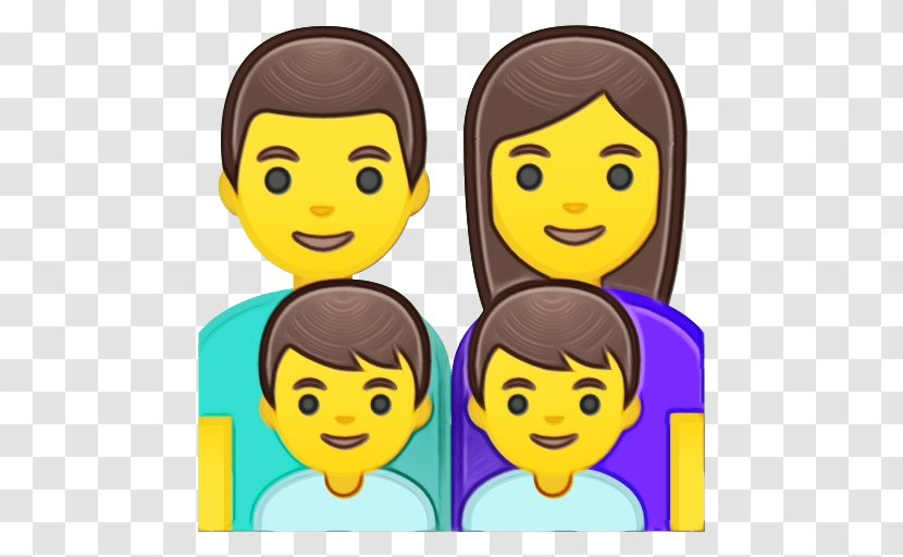 Happy Family Cartoon Emoji Black Hair Style Transparent Png