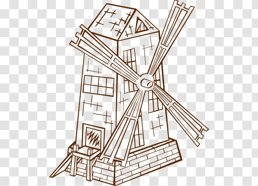 Windmill Drawing Cartoon Clip Art - Black And White - Cliparts Transparent PNG