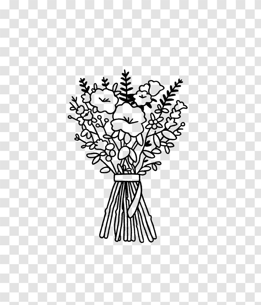 Drawing Illustration Line Art Flower Bouquet Clip Floral Design Funeral Transparent Png