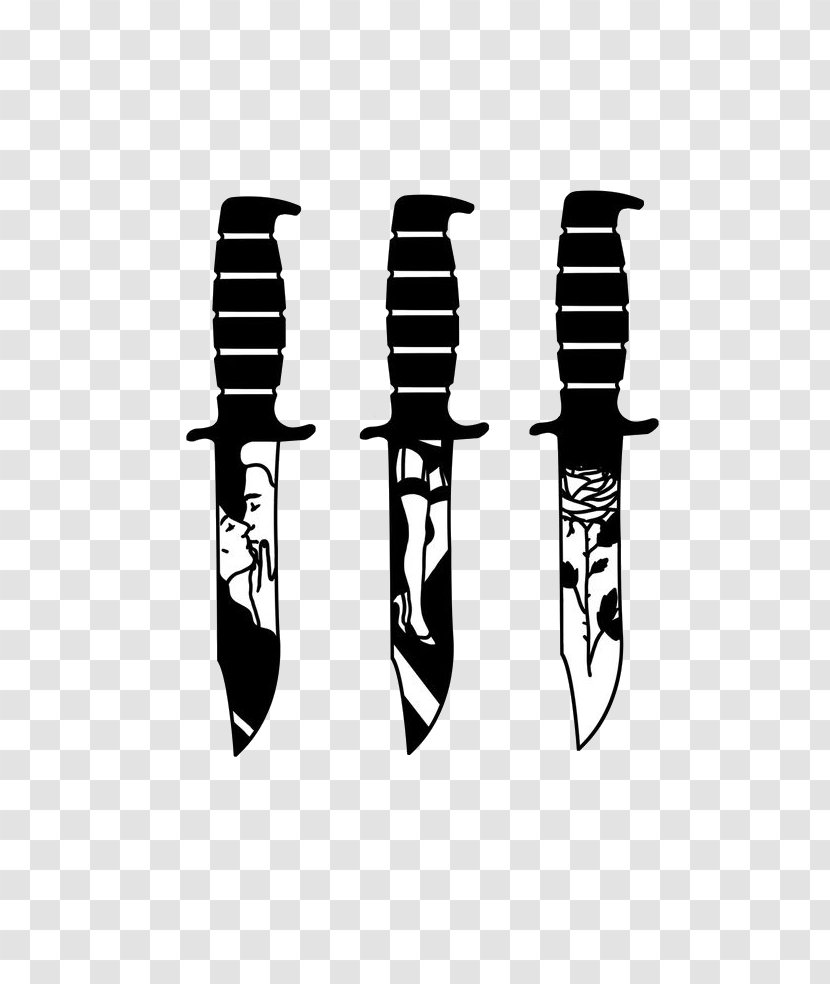 Knife Tattoo Flash Blade Design Transparent Png