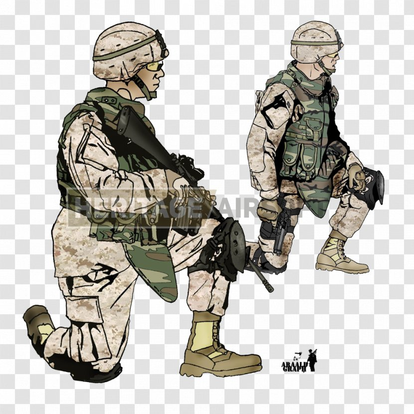 Soldier Military Camouflage Airsoft United States Marine Corps - Militia - Marines Transparent PNG