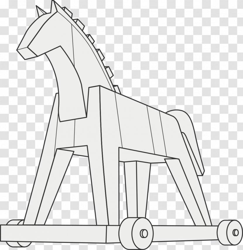 Horse Line Art - White Transparent PNG