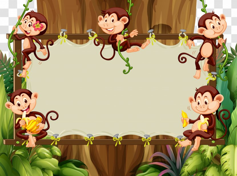 Cartoon Monkey Illustration Jungle Cute Animals Vector Material Borders Transparent Png