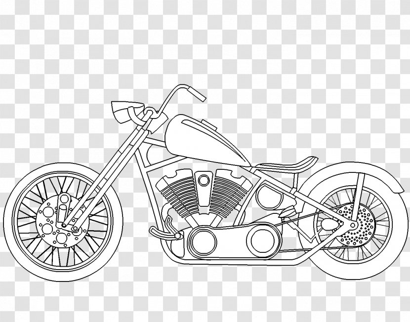 - Chopper Motorcycle Coloring Book Harley-Davidson Car - Automotive Design -  Motorcicle Transparent PNG