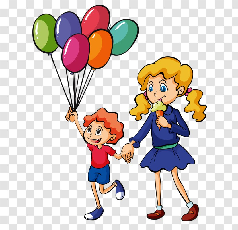 Kids Playing Cartoon - Balloon - Gesture Party Supply Transparent PNG