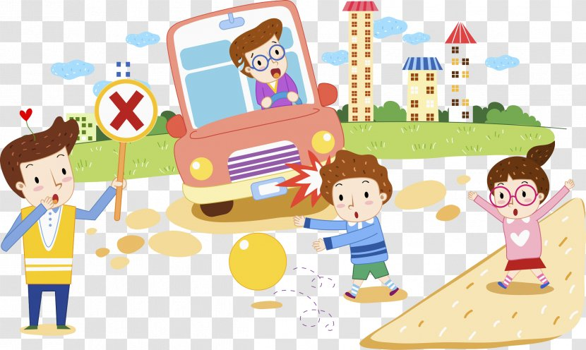 Road Traffic Safety Cartoon Illustration Child Children Play Transparent Png