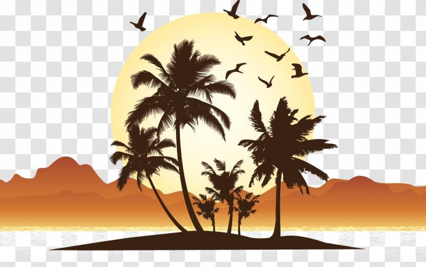 Vector Seaside Sunset Illustration Clip Art Transparent Png