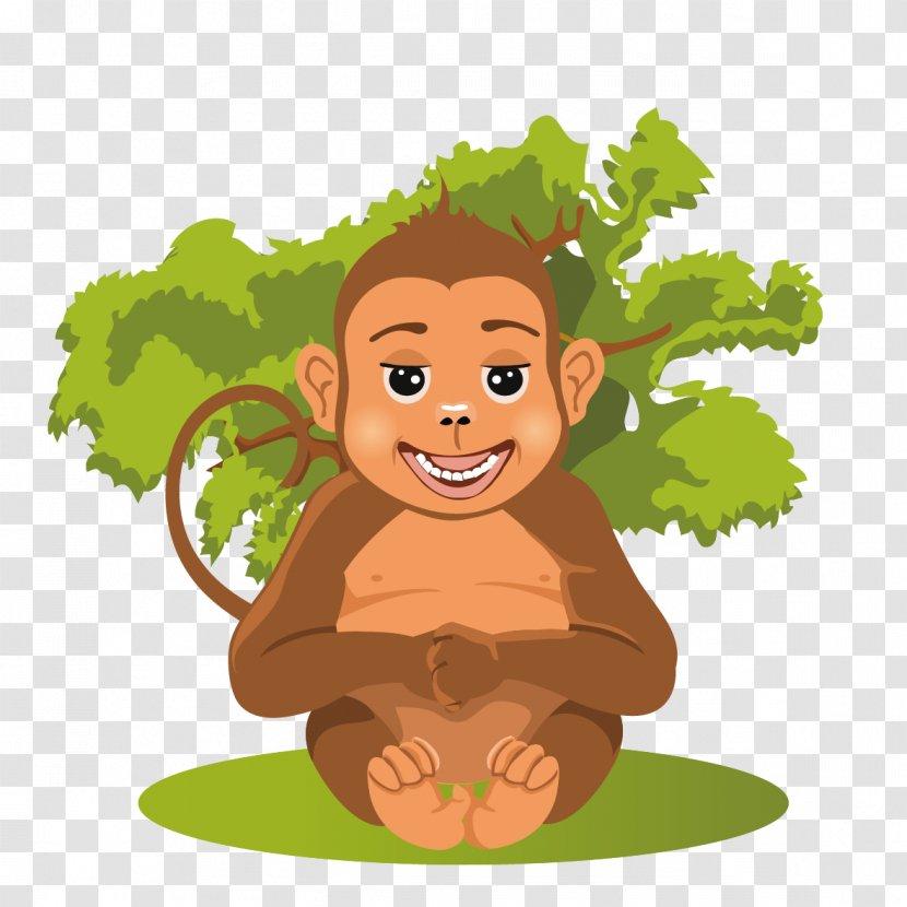 Baby Jungle Animals Cartoon - Leaf - Monkeys Frolic Transparent PNG