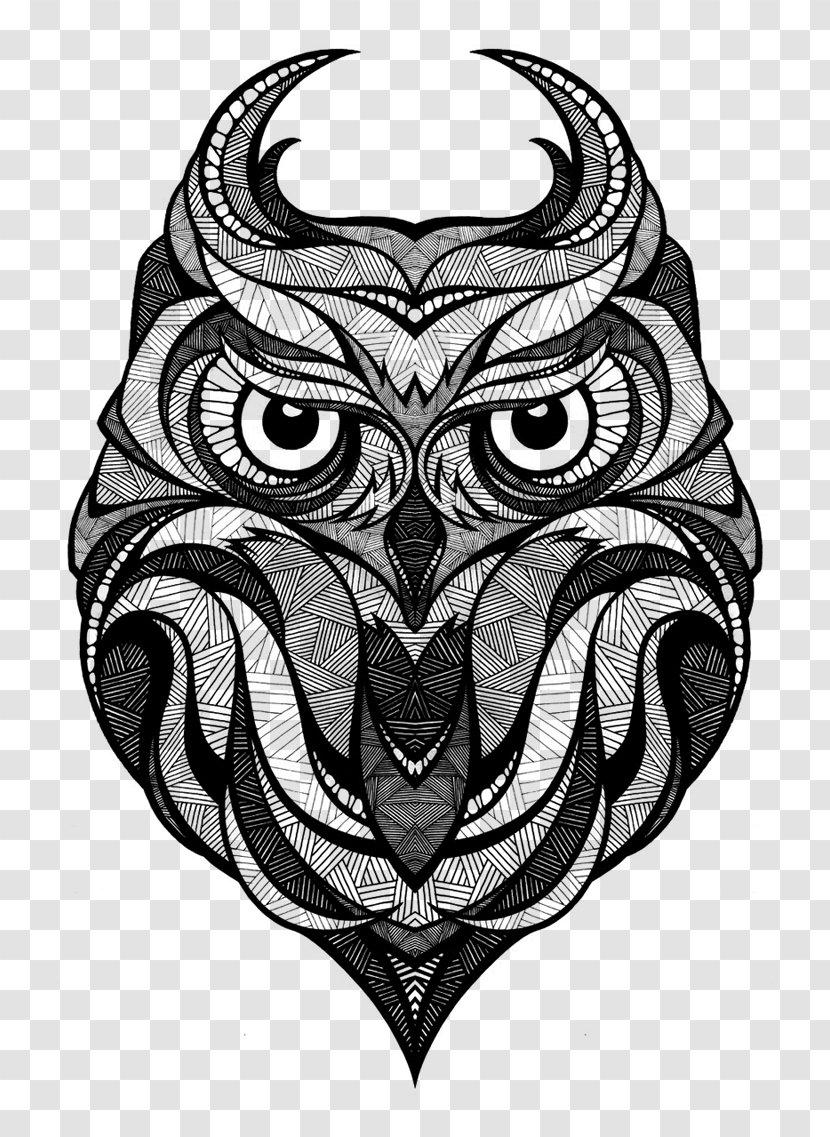 Owl Drawing Art Arctic Fox - Monochrome Photography Transparent PNG