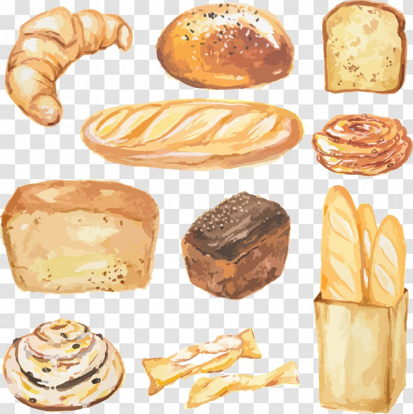 Watercolor Painting Vector Graphics Bread Stock Photography Illustration Viennoiserie Breadstick Transparent Png