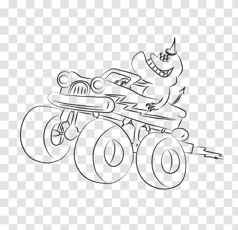 Clip Art M 02csf Design Illustration Drawing Black And White Blaze Monster Truck Transparent Png