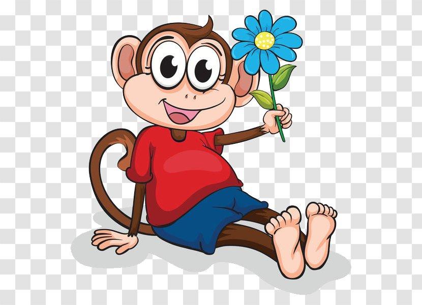 Ape Monkey Cartoon Clip Art Drawing A With Little Flower Transparent Png
