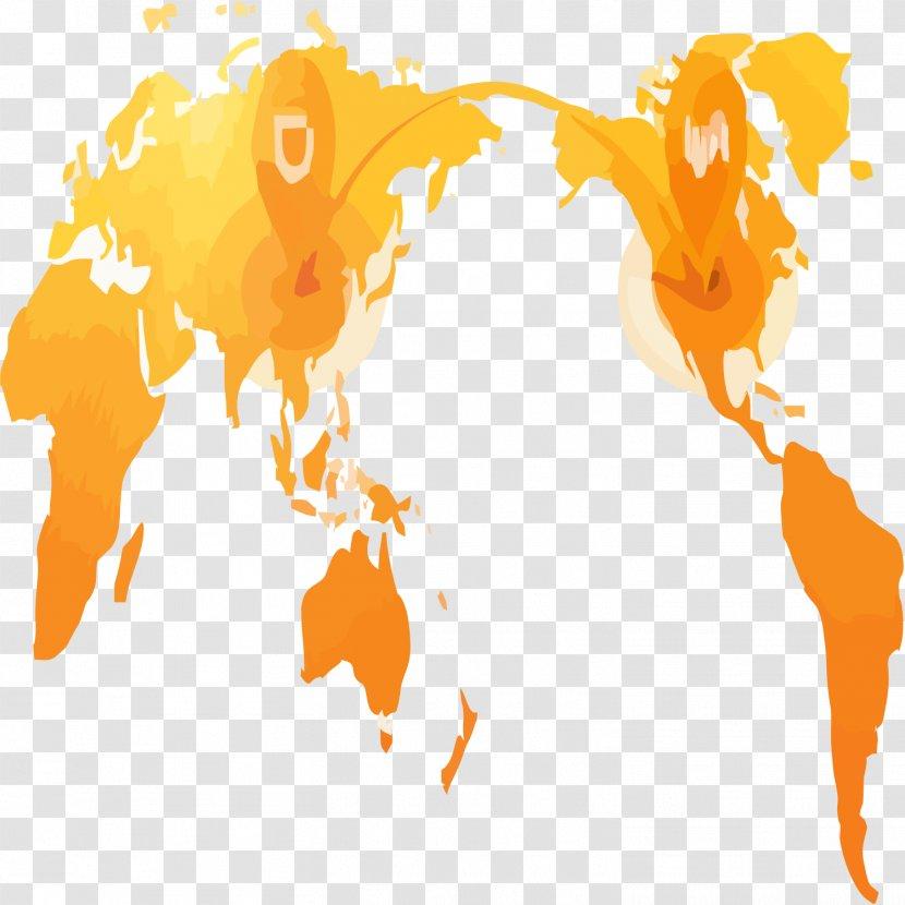Illustration - Orange - World Map Transparent PNG