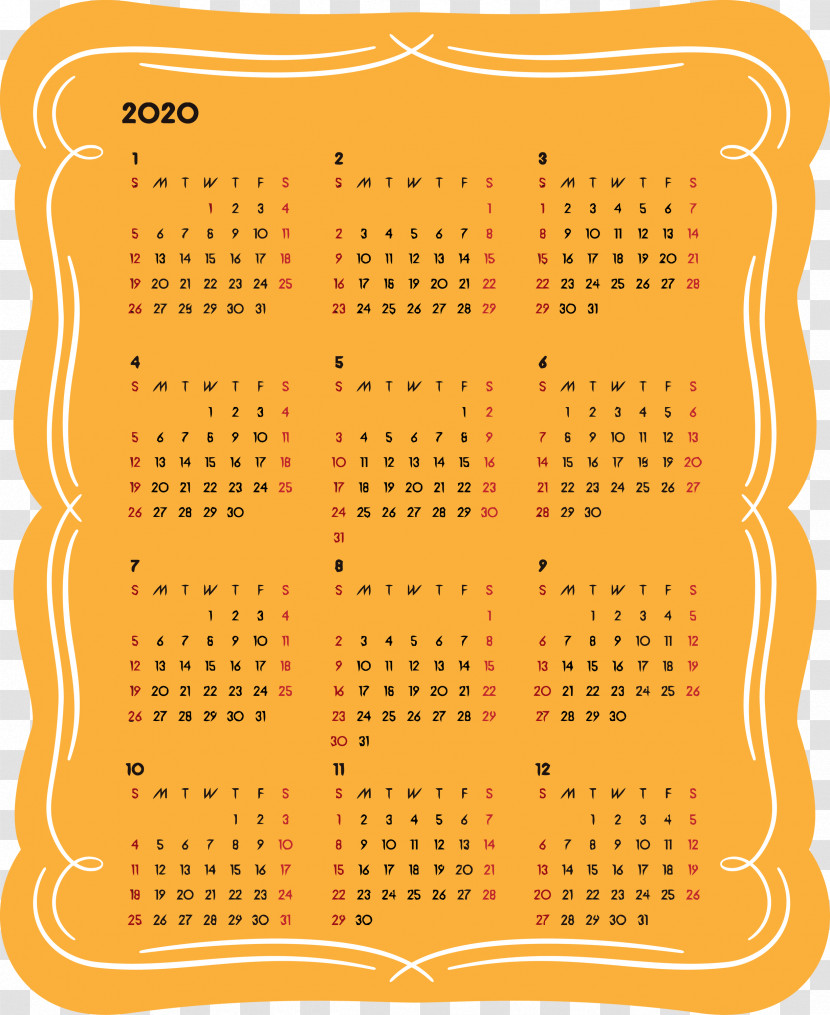 2020 Yearly Calendar Printable 2020 Yearly Calendar Year 2020 Calendar Transparent PNG