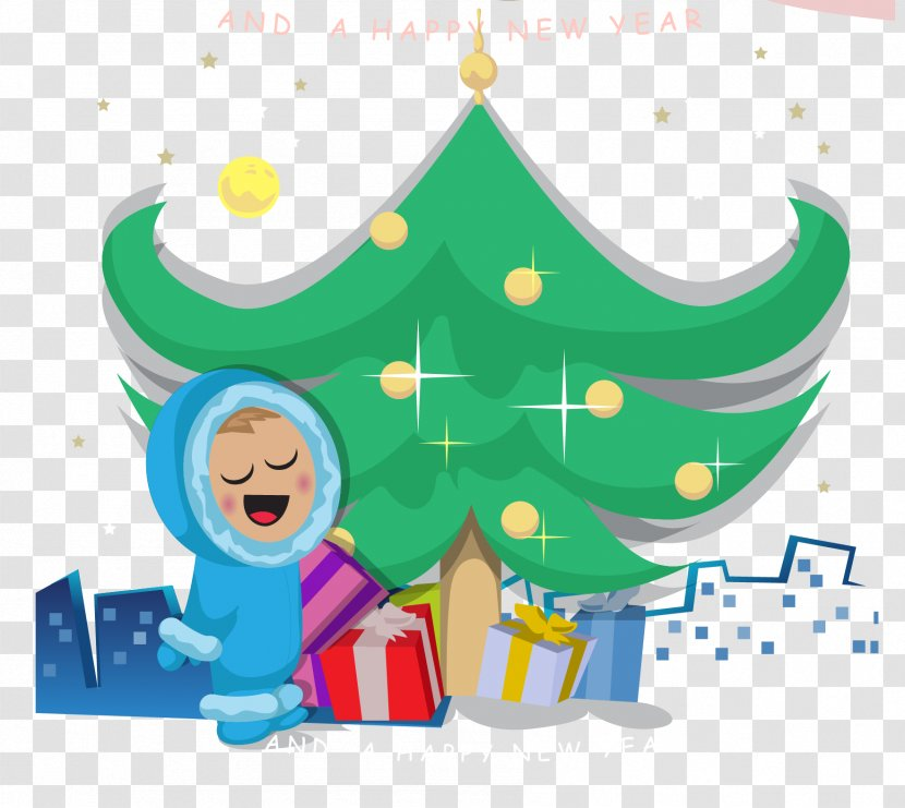 Christmas New Year Illustration Years Day Cartoon Tree With Characters Vector Transparent Png Vector art, clipart and stock vectors. pnghut