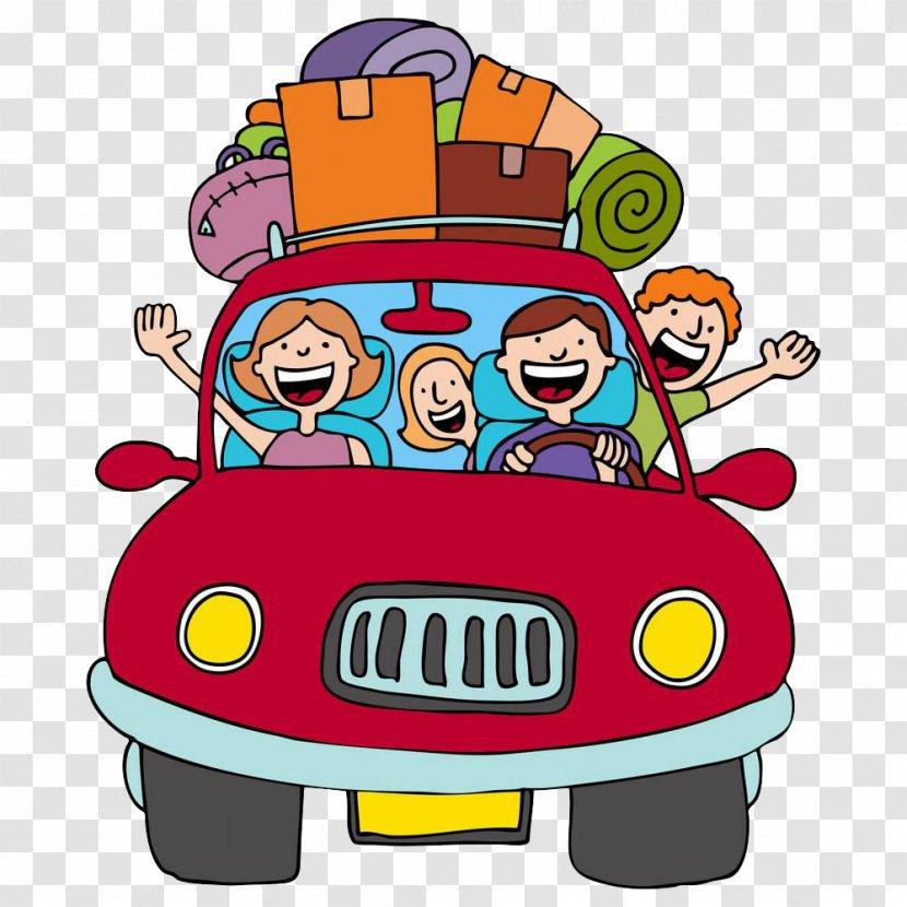 Vacation Road Trip Cartoon Clip Art - Free Content - Happy Driving Transparent PNG