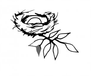 Three baby birds in a nest- black and white clipart. Commercial use GIF,  EPS, SVG clipart # 130746 | Graphics Factory