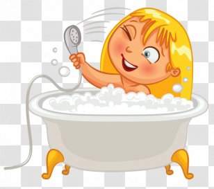 Baby taking a bath. vector black and white coloring page. Cute baby in a  bath tub taking a bubble bath and playing with his