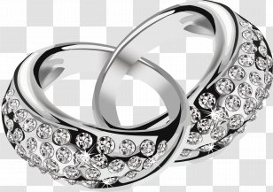 Wedding Ring Engagement Clip Art Product Design Silver Rings With Diamonds Transparent Png